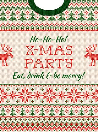 Invitation de fête de Noël de chandail laid. Illustration vectorielle Motif de fond tricoté à la main avec des cerfs, un arbre de Noël et des flocons de neige, des ornements scandinaves. Couleurs blanches, rouges, vertes. Style plat Vecteurs