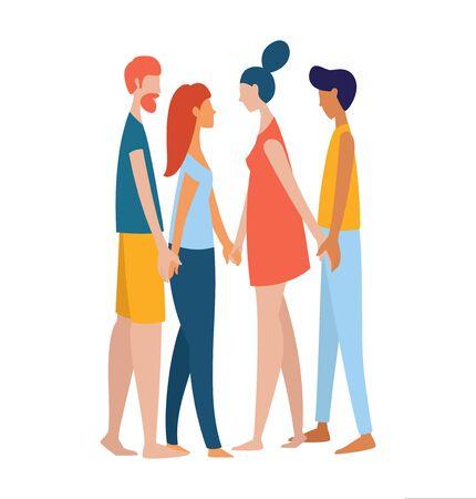 Quatre polyamoureux différents, femmes et hommes, se tenant la main. Groupe multiethnique d'amoureux. Style plat d'affiche d'illustration vectorielle de couleur arc-en-ciel