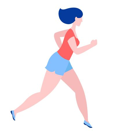 Woman jogging running. Sport fitness outfit clothes. Blue, pink, red colors on white background. Vector illustration flat style. Ilustracja