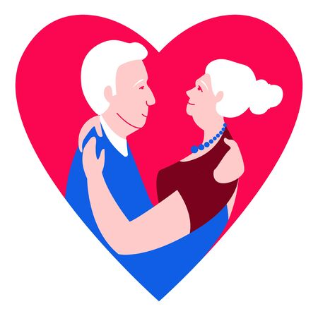 Two loving seniors man and woman hugging dancing face to face. Blue, pink, red colors on white background. Vector illustration flat cartoon style. Archivio Fotografico - 132171717