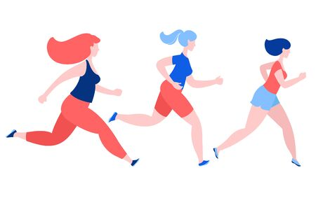 Three women jogging running. Sport fitness outfit clothes. Blue, pink, red colors on white background. Vector illustration flat style.