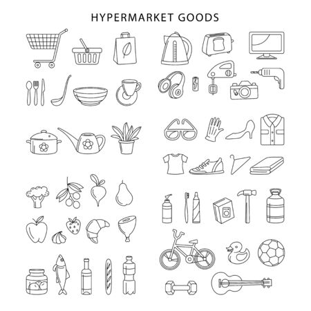 Supermarket hypermarket store food, market products, goods, appliances, clothes, toys, music, sports thin line icons set. Vector illustration in linear simple style.