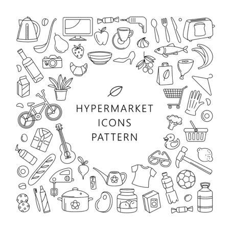 Supermercado hipermercado almacenar alimentos, productos de mercado, bienes, electrodomésticos, ropa, juguetes, música, deportes, patrón de marco de fondo de iconos de línea fina redonda. Ilustración de vector de estilo lineal simple.