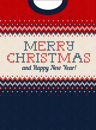 Invitación de fiesta de Navidad de suéter feo. Ilustración vectorial Patrón de fondo de tejido hecho a mano con adornos escandinavos de cuello de punto. Colores blanco, rojo, azul. Estilo plano