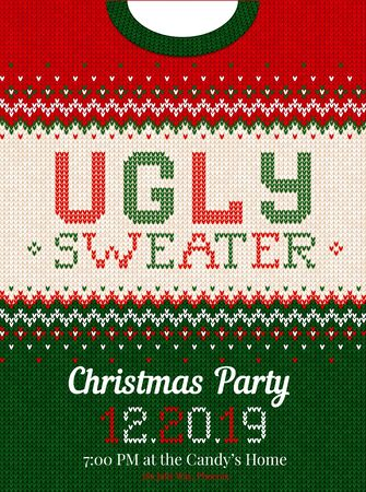 Ugly sweater Christmas party invite. Vector illustration Handmade knitting background pattern with knitted collar scandinavian ornaments. White, red, green, colors. Flat style Foto de archivo - 131302008