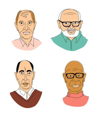 Decorative diverse senior multiracial multiethnic men's head set background Happy Father's Day, Gay Pride. Hand drawn grunge line drawing doodle coloured vector illustration poster