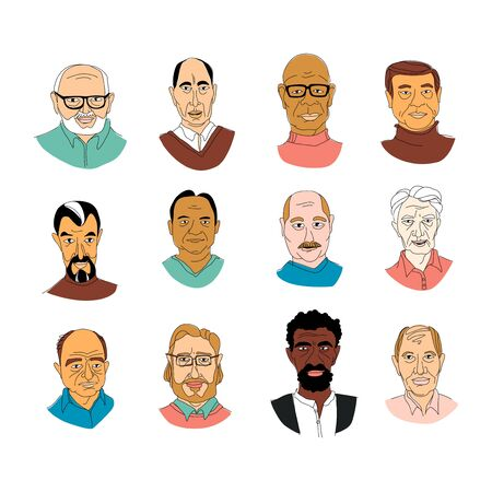 Decorative diverse senior multiracial multiethnic mens head set background Happy Fathers Day, Gay Pride. Hand drawn grunge line drawing doodle coloured vector illustration poster