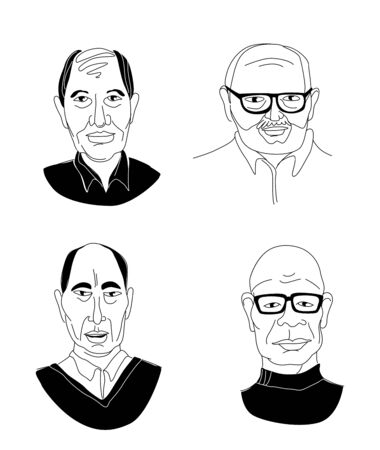 Decorative diverse senior multiracial multiethnic mens head set background Happy Fathers Day, Gay Pride. Hand drawn grunge line drawing doodle black and white vector illustration poster