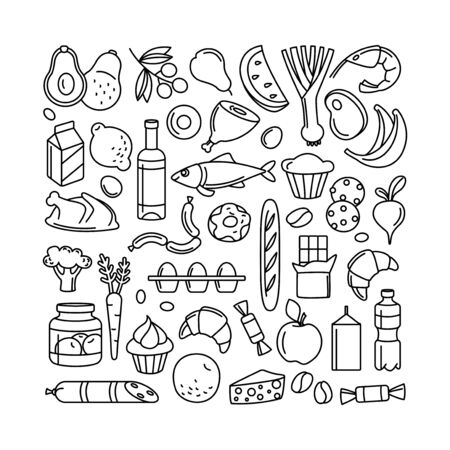 Supermarket grosery store food, drinks, vegetables, fruits, fish, meat, dairy, sweets market products goods thin line icons background pattern. Vector illustration frame border in linear simple style. Foto de archivo - 134474964