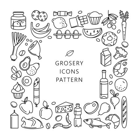 Supermarket grosery store food, drinks, vegetables, fruits, fish, meat, dairy, sweets market products goods thin line icons background pattern. Vector illustration frame border in linear simple style. Foto de archivo - 134474967