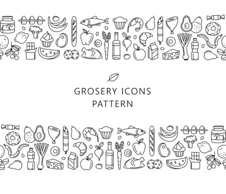 Supermarket grosery store food, drinks, vegetables, fruits, fish, meat, dairy, sweets market products goods seamless thin line icons background pattern. Vector illustration in linear simple style. Foto de archivo - 134474965