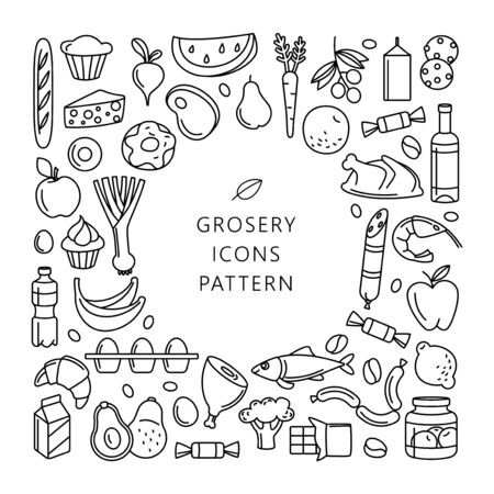 Supermarket grosery store food, drinks, vegetables, fruits, fish, meat, dairy, sweets market products goods thin line icons background pattern. Vector illustration frame border in linear simple style. Foto de archivo - 134474963