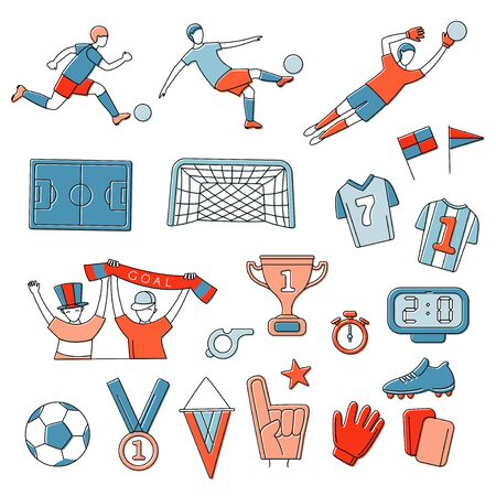 Soccer football world championship player game match soccer fans thin line outline icons set. Vector illustration doodles in linear simple style. White, blue, red colours
