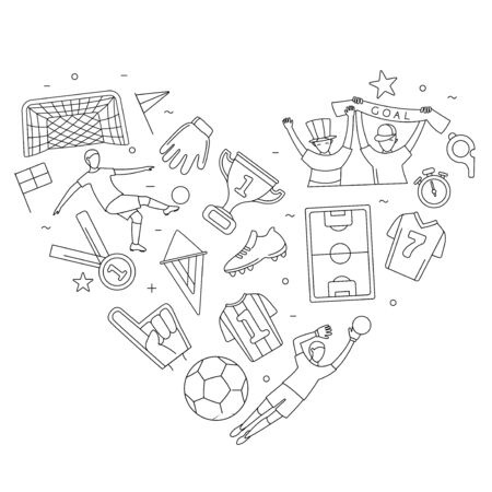 Soccer football world championship player game match soccer fans thin line outline icons heart shape background. Vector illustration doodles in linear simple style. White, black colours