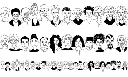 Womens mens head portraits line drawing doodle poster seamless border