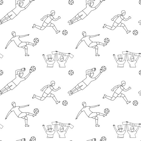 Soccer football player game match fans line icons seamless background pattern.