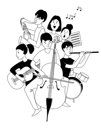 Music school orchestra concert students musical instruments doodles line poster