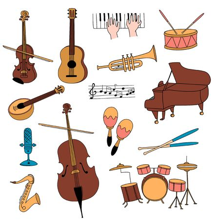 Musical instruments guitar, flute, cello, violin ,saxophone thin line art icons clipart set of doodles. Vector illustration doodles in linear simple style. Black white