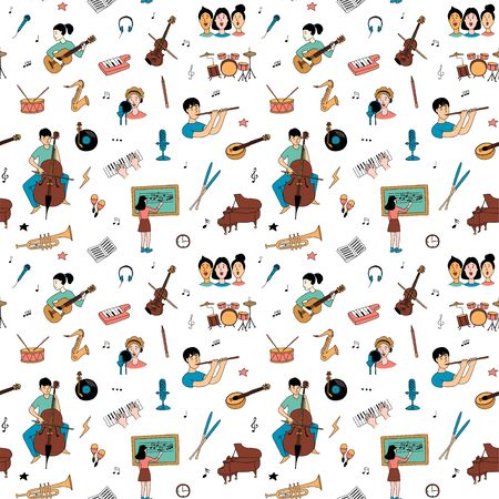 Music lessons with students different musical instruments guitar, flute, cello, violin ,saxophone in line icons clipart seamless background pattern. Vector illustration doodles in linear simple style.