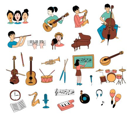 Music lessons with students different musical instruments guitar, flute, cello, violin ,saxophone in line icons clipart set of doodles. Vector illustration doodles in linear simple style. Black white