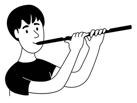 Music lessons flute player flutist student line icon clipart doodles. Vector illustration doodles in linear simple style. Black white