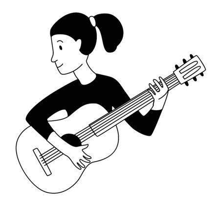 Music lessons guitar player guitarist student line icon clipart doodles. Vector illustration doodles in linear simple style. Black white