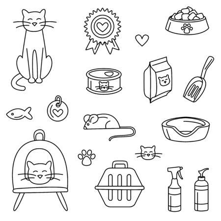 Pet store for cats set black and white. Vector illustration doodles, set of pet shop goods in thin line art sketch style Çizim