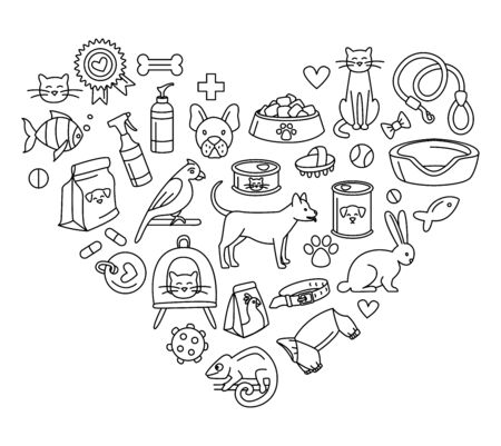 Pet store for dogs, cats, birds and other domestic animals heart shape pattern background black and white. Vector illustration doodles, set of pet shop supplies in thin line art sketch style