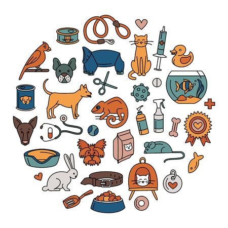 Pet store for dogs, cats, birds and other domestic animals round pattern colored background. Vector illustration doodles, set of pet shop supplies in thin line art sketch style Illustration