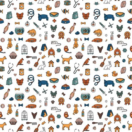 Pet store for dogs, cats, birds and other domestic animals seamless pattern background. Vector illustration doodles, set of pet shop goods in thin line art sketch style
