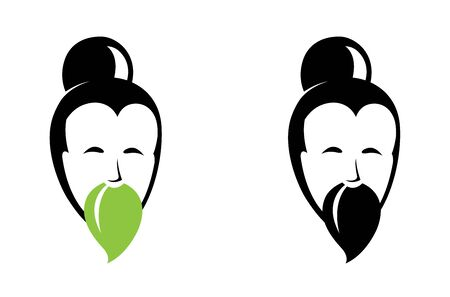 Portrait of Asian Old man with beard. Logo for tea company or packaging with tea leaves. Vector illustration icon