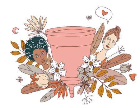Women's hygiene supplies for menstruation: menstrual cup with floral flowers pattern background and women portraits faces. Vector illustration background doodle icons in thin line art sketch style Illusztráció