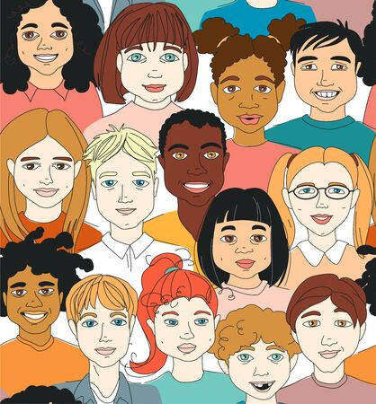 Diverse Kid's Children's head diversity seamless pattern background. Hand drawn line drawing doodle vector illustration poster