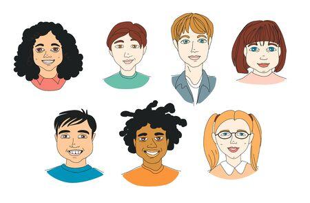 Set of Diverse Kid's Children's head diversity . Hand drawn line drawing doodle vector illustration poster