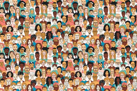 Fondo transparente de los niños de los hombres de las mujeres adultas jóvenes, de mediana edad, mayores. Diversidad, multirracial, multiétnico grupo de personas. Cartel de ilustración de vector de doodle de dibujo lineal dibujado a mano