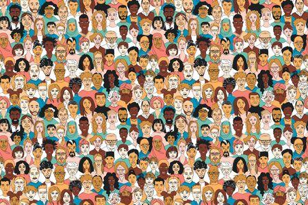 Junges, mittleres Alter, nahtloser Musterhintergrund der Männer der Männer der älteren erwachsenen Frauen. Vielfalt multiethnischer, multiethnischer Gruppenmenschen. Hand gezeichnetes Strichzeichnungsgekritzelvektorillustrationsplakat