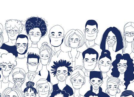 Erwachsene Frauen Männer Kinder nahtlose Muster Hintergrund. Diverse Menschenmengen, die medizinische Masken tragen, schützen die Coronavirus-Epidemie. Hand gezeichnetes Strichzeichnungsgekritzelvektorillustrationsplakat