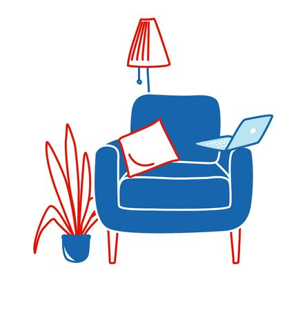 Comfortable home seat chair with a houseplant, laptop and a floor lamp. Home office for quarantine. Vector illustration doodles, thin line art sketch style concept