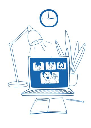 Learning online, e-learning video call chat with class. Laptop, notebook, lamp, plant and clock - ideal home workplace. Vector illustration doodles, thin line art sketch style concept Stock Illustratie