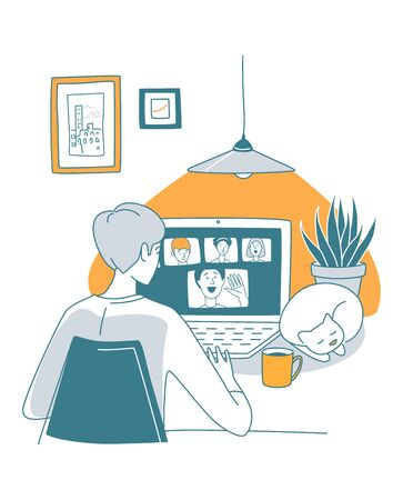 Video call to friends in the evening during quarantine, cup of tea, warm meeting. Vector illustration doodles, thin line art sketch style concept
