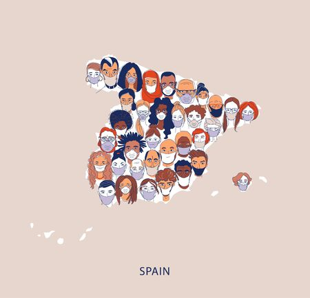Adult women men children Diverse crowd of people wearing medical masks pattern background. Protection and precention coronavirus infection. Map of Spain Line drawing doodle vector illustration poster