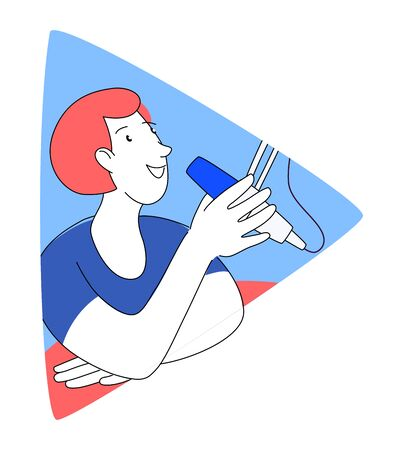 Radio host with table flat vector illustration. Media hosting doodle drawing. Female podcaster speaking to mic microphone, broadcaster at workspace isolated cartoon character. Thin line flat style