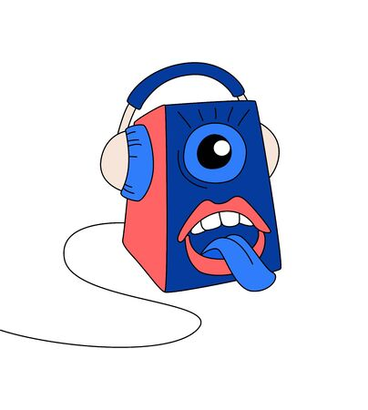 Radio host flat vector illustration set. Media hosting doodle drawing. Spiker in headphones with mouth shouting, broadcasting isolated cartoon character. Thin line flat style