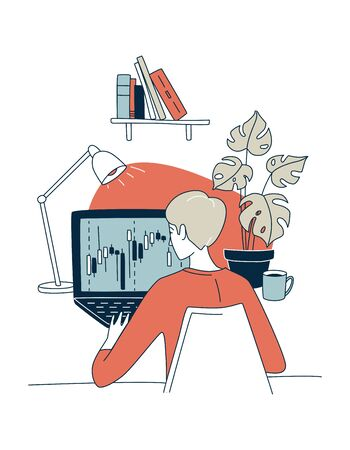 Trading exchange home office trader workplace. Vector illustration doodles, thin line art sketch style concept Vecteurs