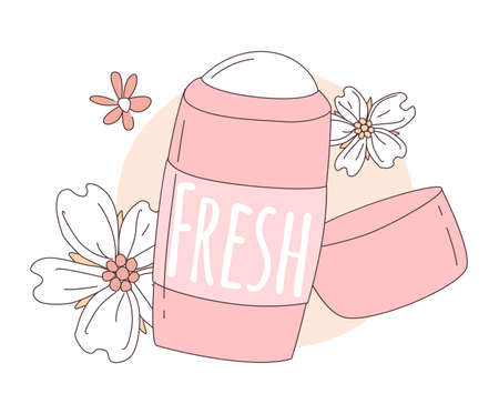 Women deodorant for girls in a tube with an open cap of pink color with flowers and inscription Fresh. Vector illustration doodle in thin line art sketch style