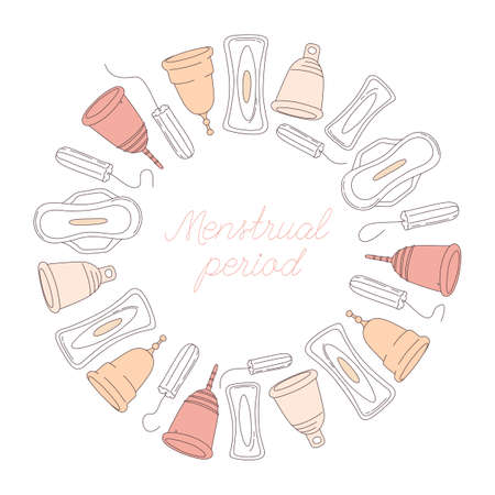 Women hygiene supplies for menstruation: underpants, pads, tampons, menstrual cup. Vector illustration frame border pattern doodle icons in thin line art sketch style