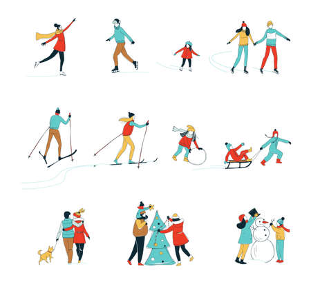Decorative women men kids children winter activities set background. Winter sport Christmas decorating skiing ice skating fun. Hand line drawing doodle colored vector illustration poster