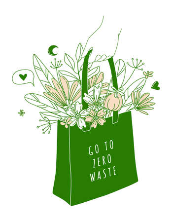 No plastic, go green, Zero waste concepts. Reduce, reuse, refuse, Reycle, Rot - ecological lifestyle. Hand holding cotton shopping bag with flowers. Linear icons style illustration doodle drawing