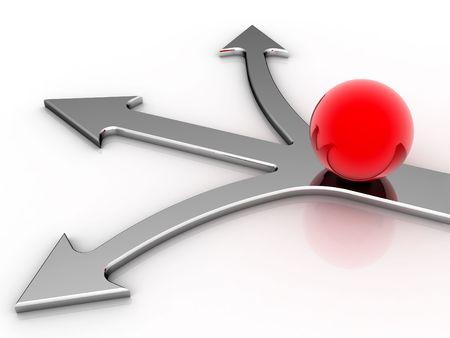 notions: Bola roja, tres direcciones a la luz de fondo