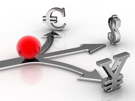 embedding: Red ball, three directions, symbol of the money on light background